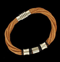 Men's 4Strand Bracelet Silver Brown