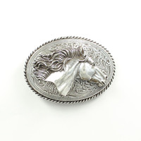 Women's Horse Head Silver Buckle