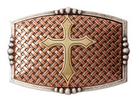 Basketweave Cross Gold Buckle