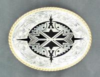 Nocona Oval Aztec Silver Belt Buckle