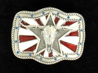Nocona Star Skull Flag Silver Black Belt Buckle