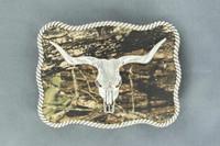 Nocona Longhorn Skull Silver Camo Belt Buckle
