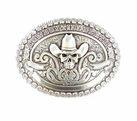 Oval Cowboy Skull Silver Belt Buckle