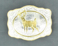 Scalloped Buck Gold Silver Belt Buckle
