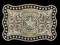 Nocona Star Rope Edge Silver Belt Buckle