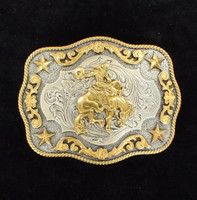 Nocona Rectangle Roped Edge Saddle Bronc Gold/Silver