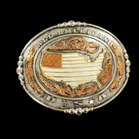 Oval USA Silver Gold Belt Buckle