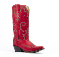 Corral Red Laser Tubled Cowboy Boots