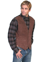 Scully Men's Boar suede snap front vest - Brown