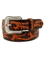 Ariat Men's Tan Filligree on Black Belt