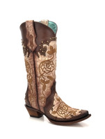 Corral Women's Flower Embroidered Stud Cowboy Boot Brown