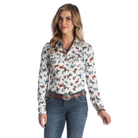 Wrangler Women's Long Sleeves Checotah Butterfly Top