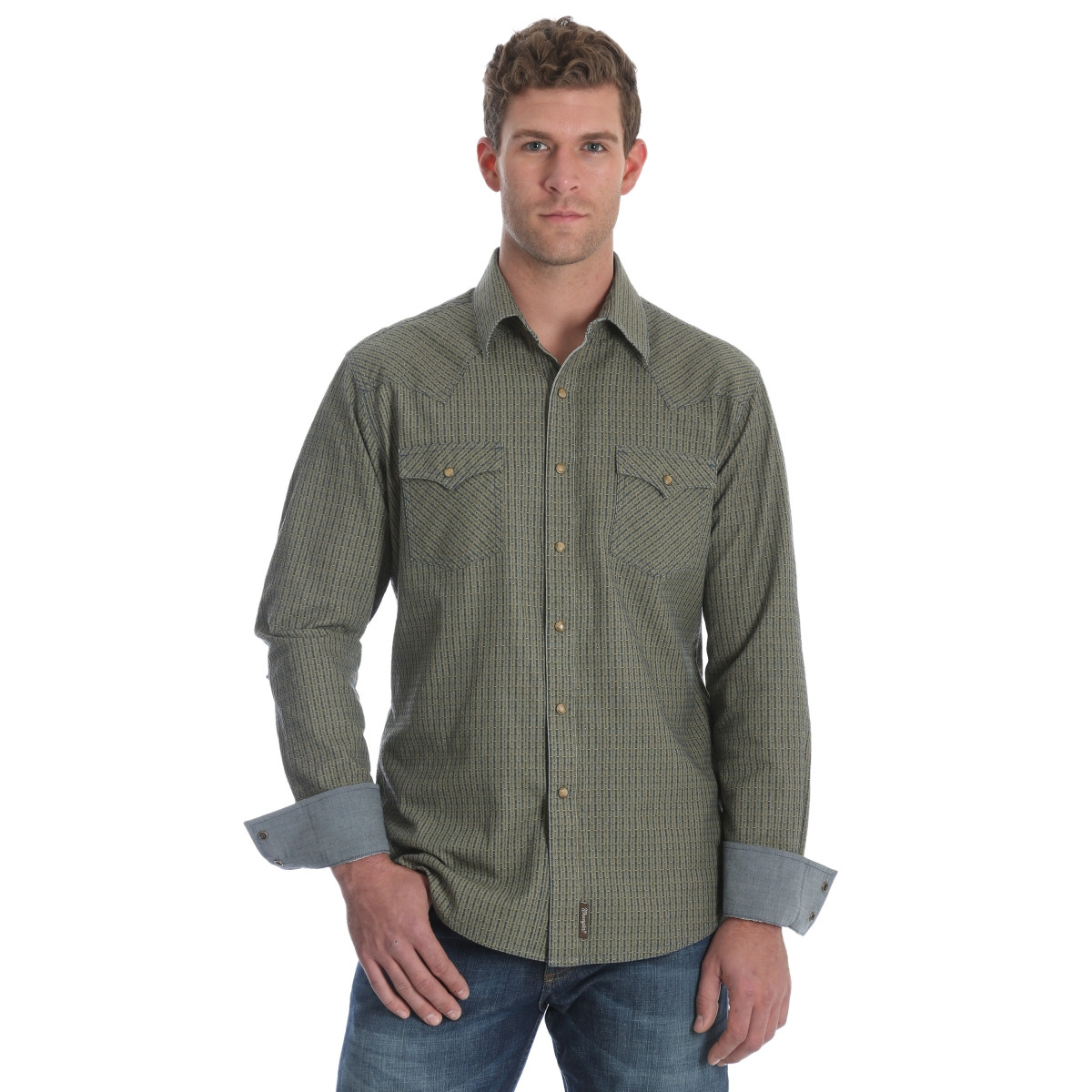 buy online f60ce 2c5ec Wrangler Men's Retro Premium Long Shirt Shirt