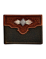 Nocona  Men's Western Wallet Bifold Laced Aztec Concho Med Brown