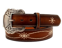Noconat Women's eather Stain Edge Starburst Western Belt