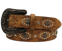 Nocona Women's Leather Distressed Studs Western Belt