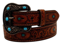 Nocona Womens Leather Oval Starburst Western Belt Brown