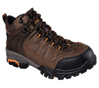 Skechers Men's Delleker Hiker Steel Toe Waterproof  Work Boots - Brown