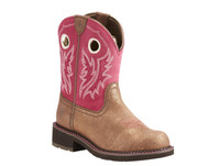Ariat Women Fatbaby Metalic Cowboy Boots - Brwon/Hot Pink