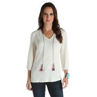 Wrangler Women's Peasant Long Sleeves Shirt - White