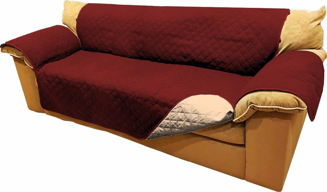 BURGUNDY QUILTED MICROFIBER PET DOG COUCH SOFA FURNITURE PROTECTOR WITH STRAP