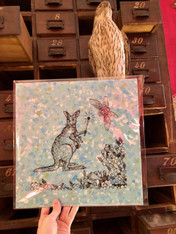 Jennifer Angus Print, Kangaroo on Blue
