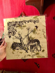 Jennifer Angus Print, Deer on Green