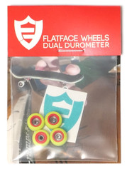 FlatFace x Oak Dual Durometer Bearing Wheels - Red/Acid Green