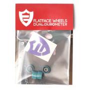FlatFace Dual Durometer Bearing Wheels - Black/Turquoise