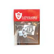 FlatFace x Oak Dual Durometer Bearing Wheels - White/Bluemotion