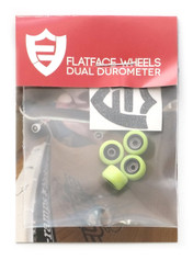 FlatFace x Oak Dual Durometer Bearing Wheels - Black/Acid Green