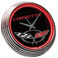 CORVETTE C5 LOGO CLOCK WITH RED NEON