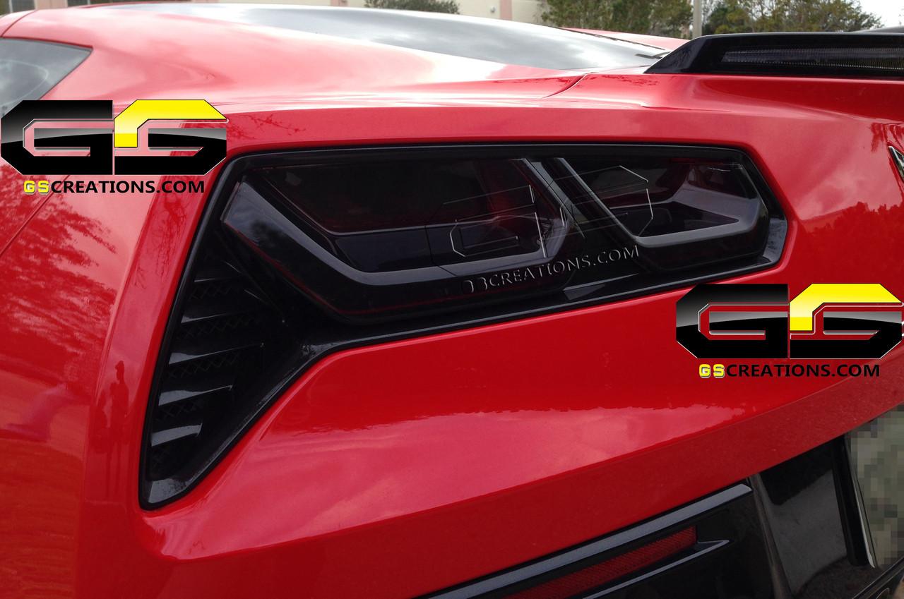 C7 Corvette Rear Tail Light Blackout Lens Kit ( Smoked Covers )