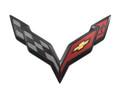 C7 Stingray Corvette OEM Rear Bumper Carbon Flash Flags Emblem