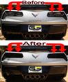C7 Corvette Rear FLAT DESIGN Tail Light Blackout lens Kit 4pc ( Smoked Covers )