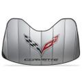 Corvette Logo Accordion Style Sunshade - Insulated Silver : C7 Stingray, Z51, Z06, Grand Sport
