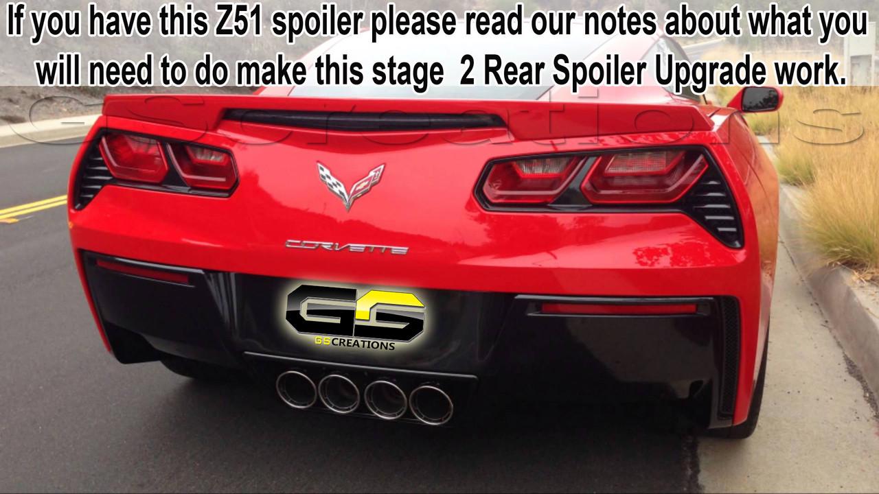 2015 2019 Chevrolet C7 Corvette Genuine Gm C7 Z06 Stage 2 Rear Spoiler Winglets Upgrade Gscreations