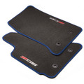 C7 Corvette Front Premium Carpet With Z06 Logo, Black With Tension Blue Stitching