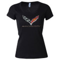 C7 Corvette Stingray Flag RHINESTONE LADIES Short Sleeve Tee T-Shirt