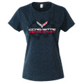 C7 Corvette Stingray Flag RACING LADIES Short Sleeve Tee T-Shirt