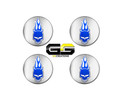 C6 Corvette Chrome with Blue elwood Jake logo Center Caps, Fits Z06, GS, C5
