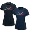 C7 Corvette GRAND SPORT FOIL HEATHER Ladies & Kids Short Sleeve Tee T-Shirt