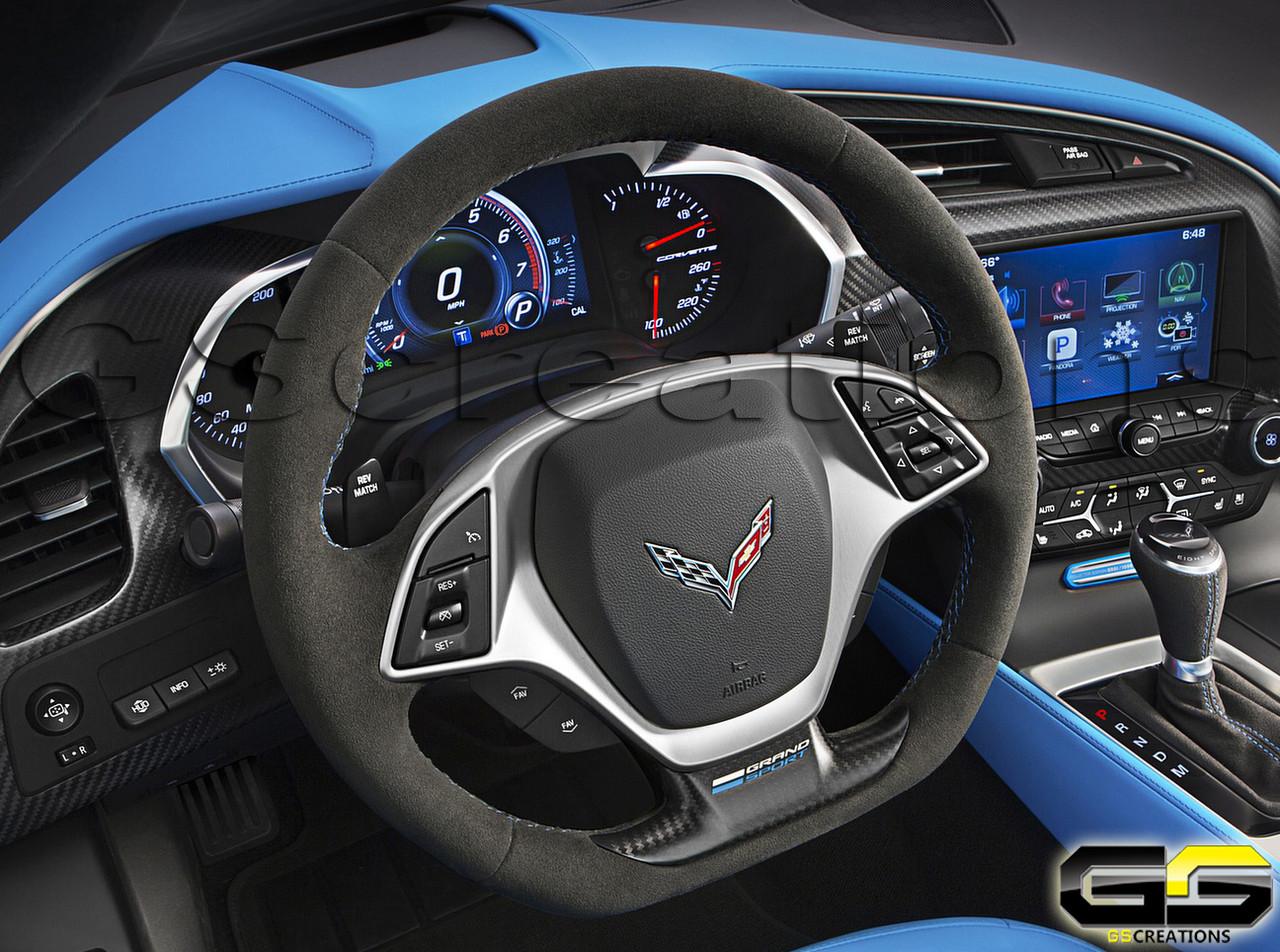 Corvette C7 Grand Sport Steering Wheel Tension Blue Stitching Collectors  Edition