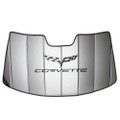 2005 - 2013 C6 Corvette Logo Accordion Style Sunshade - Insulated Silver