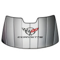 1997-2004 C5 Corvette Logo Accordion Style Sunshade - Insulated Silver
