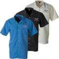 C6 Corvette Men's Harriton Textured Wrinkle Resistant Camp Short Sleeve Shirt