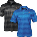 Vibe Moisture Wicking Performance Polo Collared Shirt w/ 2020 C8 Corvette Flags