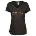 Gold Gesture V-NECK LADIES T-Shirt For 2020 C8 Corvette