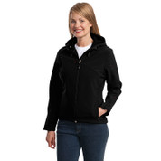 Port Authority® Ladies Textured Hooded Soft Shell Jacket