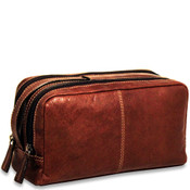 Jack Georges Voyager Leather 2-Zip Toiletry Bag